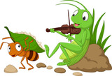 Cartoon the ant and the grasshopper - 159415302
