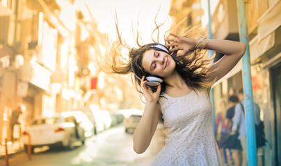 Girl enjoying and listening some music
