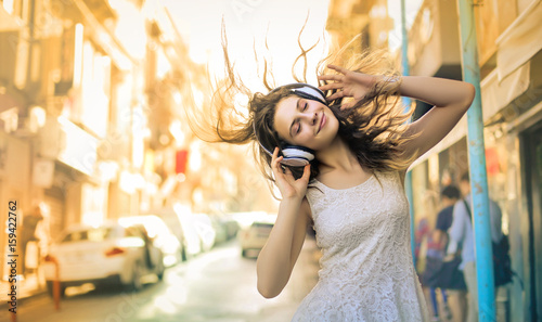 Girl enjoying and listening some music