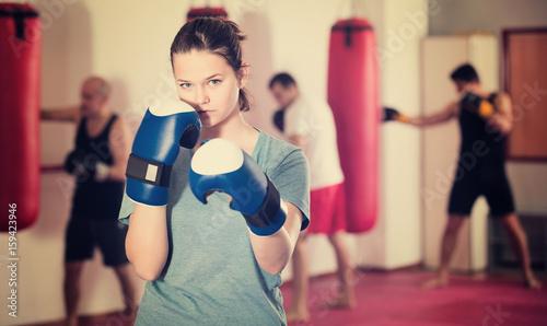 Portrait of young female sportswear training
