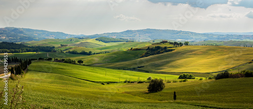 Beautiful and miraculous colors of green spring panorama landscape of Tuscany, Italy. - 159429553