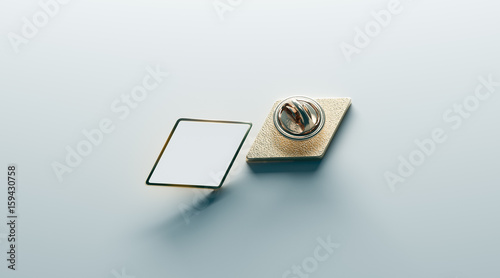 Blank White Rhombus Gold Lapel Badge Mock Up Front And Back Side View 3d