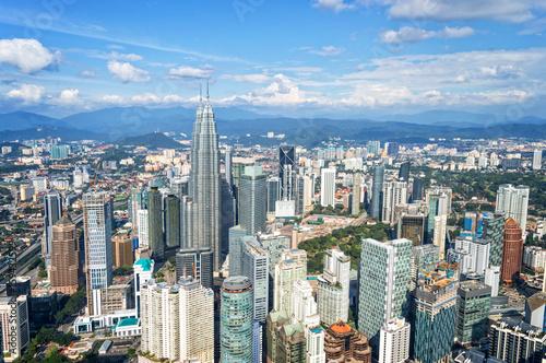 Obraz na plátne Aerial view of Kuala Lumpur skyline, Malaysia, Asia business travell concept