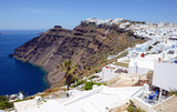 View over Fira (Santorini, Greece) with its typical white houses.