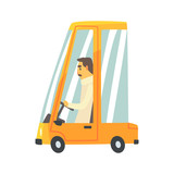 Yellow cartoon car with driver vector Illustration