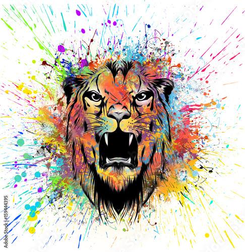 Aluminium Reznik Красочные иллюстрации головы тигра на абстрактном фоне