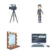 A movie camera, a suit for special effects and other equipment. Making movies set collection icons in cartoon style vector symbol stock illustration web.