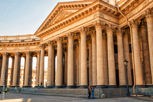 Architecture of Kazan cathedral in Saint Petersburg, Russia.