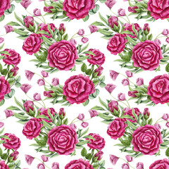 Seamless Pattern of Watercolor Bouquets with Pink Roses
