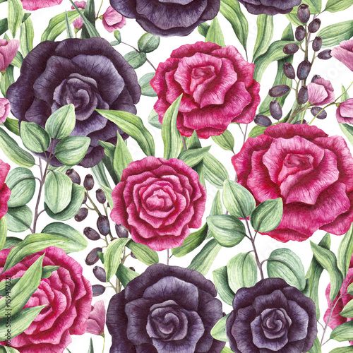 Seamless Pattern of Watercolor Leaves, Pink and Black Roses - 159457321