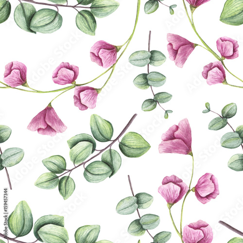 Seamless Pattern of Watercolor Light Green Leaves and Little Pink Flowers - 159457344