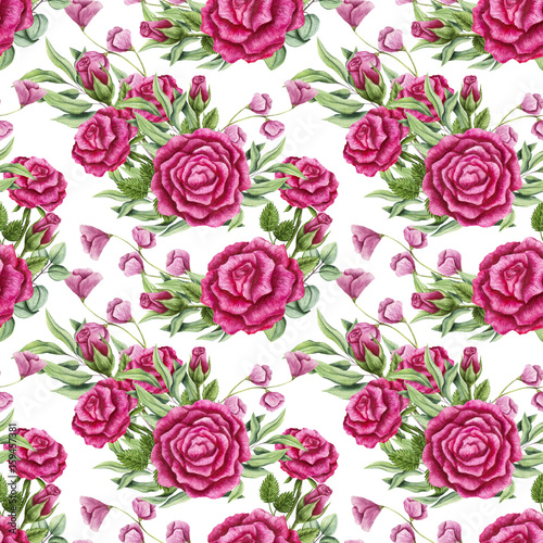 Seamless Pattern of Watercolor Bouquets with Pink Roses - 159457381