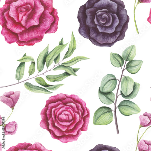 Seamless Pattern of Watercolor Light Green Leaves and Roses - 159457394