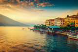 Scenic Como lake and Bellagio town at sunset, Italy. Landscape. - 159457583