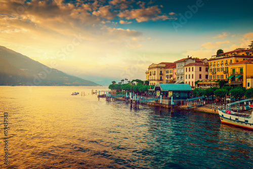 Scenic Como lake and Bellagio town at sunset, Italy. Landscape.