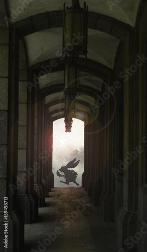 White rabbit running past dark corridor - 159458713