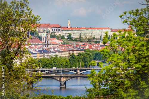 Famous Vltava river with bridges  in Prague, Czech Republic Poster