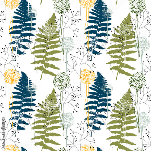 Cotton fabric Floral pattern with fern leaves, dandelions and grasses.