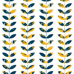Vector floral seamless pattern with stylized twigs and leaves with marble texture in retro style.