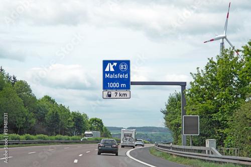 Poster Hinweistafel Ausfahrt 83 auf BAB 7, Malsfeld (Autobahntafel grafisch aufbereite