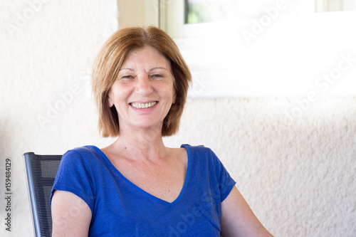 senior woman in summer smiling Poster