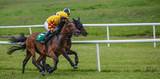 Two jockeys and race horses battling for position in the race  - 159484910