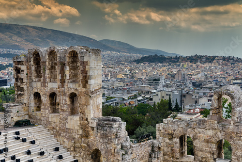View of Greek Theatre at Acropolis and city of Athens in the backgroun