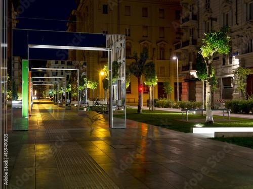Aluminium Liguria La Spezia, Liguria, Italy. Piazza Verdi, new sculpture and space, by Daniel Buren and Giannantonio Vannetti.