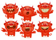 Red devil cartoon characters in different emotions emoji set - 159491392