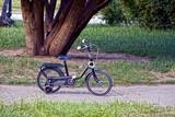 Маленький чёрный велосипед на тротуаре в парке