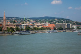 Beautiful Panoramic view of Buda side in Budapest city from Chain Bridge. Hungary.