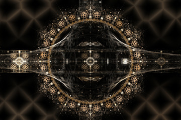 Web-mirror. Abstract fractal in brown colors on the black background