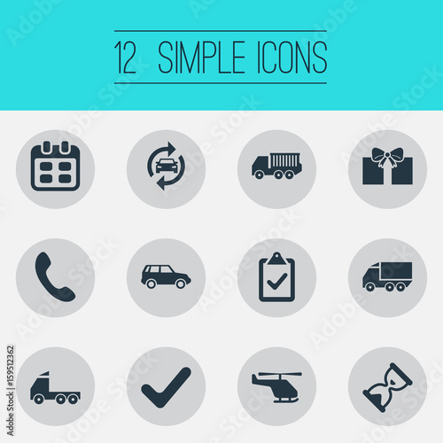 Vector Illustration Set Of Simple Handing Icons. Elements Complete, Shipment Transport, Handset Synonyms Bow, Box And Checklist.