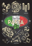 Different types of authentic Italian pasta. Hand drawn set. Vector illustration on the blackboard. Menu or signboard template for restaurant. - 159515945