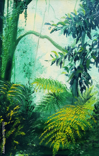 Foto op Canvas Draw Rainforest Lights and Shadows painting