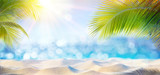 Abstract Beach Background - Sunny Sand And Shiny Sea At Shadows Of Palm Tree - 159521164