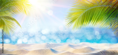 Sticker Abstract Beach Background - Sunny Sand And Shiny Sea At Shadows Of Palm Tree