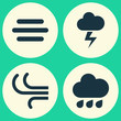 Weather Icons Set. Collection Of Rainy, Lightning, Breeze And Other Elements. Also Includes Symbols Such As Weather, Flash, Outbreak.