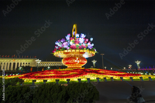 Papiers peints Pekin Big flower basket at Tiananmen Square during Chinese National day