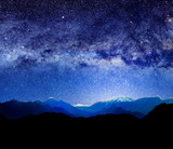 mountains and abstract lights of universe