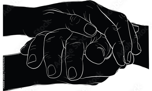 hand holding hand together, vector