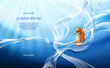 Vector illustration banner with flows and drops of crystal clear water of light blue color and sea horse. Marine background