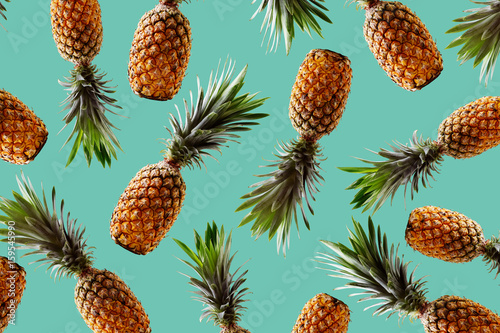 Retro design tropical style concept.Pattern with hipster pineapple summer decoration background - 159545990