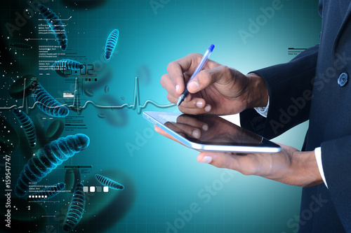 Man showing  dna and bacteria with digital tablet
