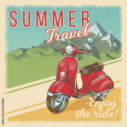 Vector illustration, poster with red vintage scooter, moped against