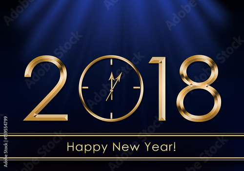 Poster Happy New Year 2018. New Year Clock