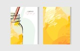 Hand drawn vector abstract freehand textured unusual cooking cards set template with lemonade glass jar in yellow colors isolated on white background. - 159558366
