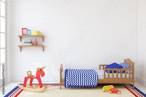 Boy's bedroom. 3d render.