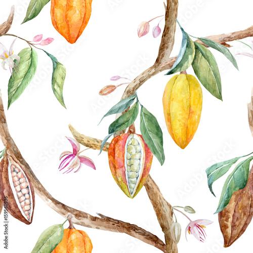 Fototapeta Watercolor cocoa vector pattern