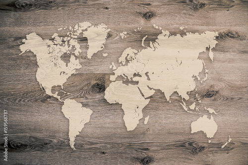 World map on wooden planks background | Buy Photos | AP Images ...